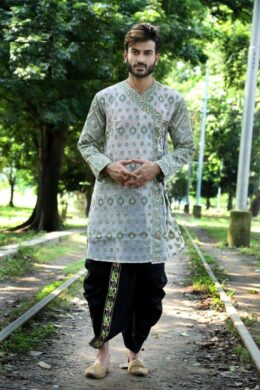 Light pink with green prints cotton kurta with green silk embroidred dhoti