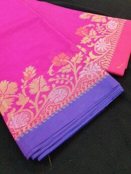 Hot pink woven Banaras silk saree