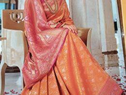 Orange pure banaras silk saree