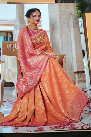 Orange pure banaras silk saree