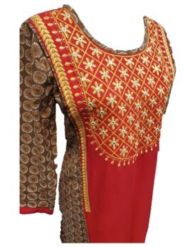 Red and brown printed cotton kurti with mirror work