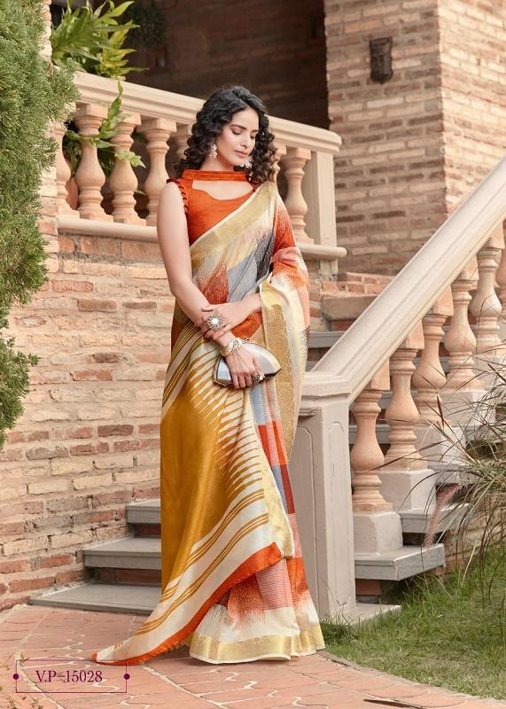 Orange checkered venkatagiri cotton saree