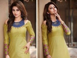 Green and blue festive cotton kurti gown dress
