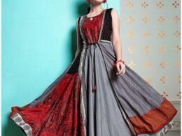 Grey and red printed chiffon sleeveles long gown kurti dress