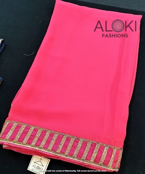 Hot pink stylish faux georgette saree