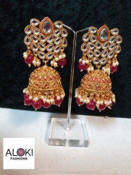 Red kundan big sized jumkha earrings