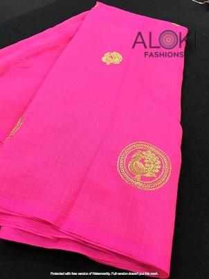 Hot pink sana silk saree with zari work