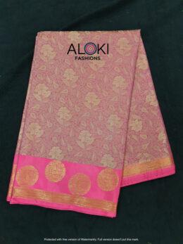 Dark pink banaras silk saree with all over zari work