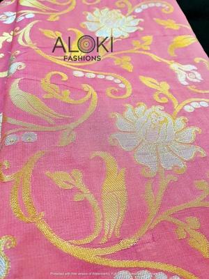 Light pink banaras pattu saree with gold and silver zari