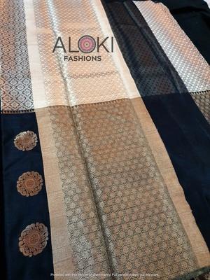 Black banaras pattu saree with gold and silver zari