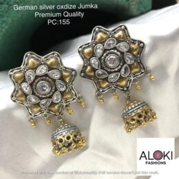 Premium Dual tone German silver jumka earrings