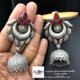 Silver look alike german silver red tone jumka earrings
