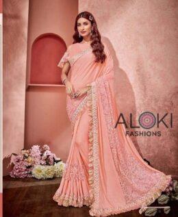 Designer pink saree with rose net work and ruffle border
