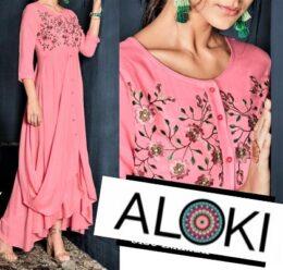 Light pink drape style kurti dress gown