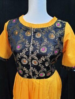 Yellow and black chanderi silk floor length anarkali gown dress