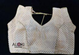 Light gold brocade ready made saree blouse