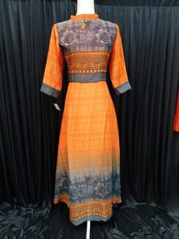 Orange printed chiffon dress kurti .With 3/4th sleeves ,Size available in L .High collared dress gown