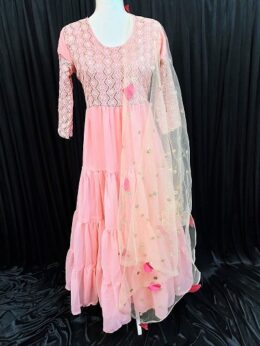 Peach pink georgette ruffle long gown with net dupatta