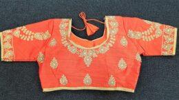 Orange silk ready made saree blouse with gold thread work
