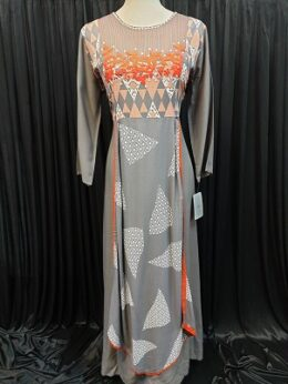 Grey and orange stylish full length kurti