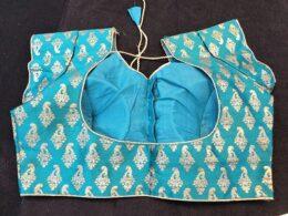 Green silk block printed ready made saree blouse with short sleeves