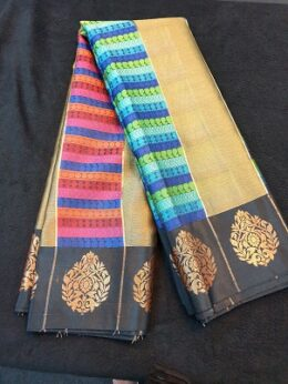 Gold banaras silk saree with black border with pink,blue and green thread work designs