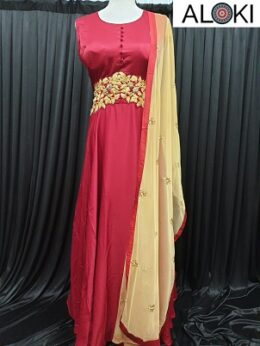 Maroon sleeveless raw silk floor length anarkali gown with net dupatta