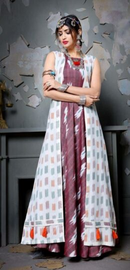 White and purple 2 pc gown with overcoat dress with ikkat styled prints