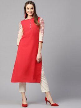 Pink 3/4th sleeve printed cotton straight kurta