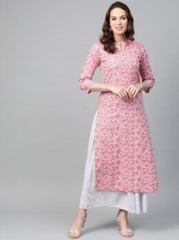 Nayo Women Pink & Off white Straight Floral Printed Kurta And Skirt Set