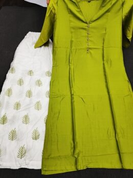 Bright green rayon kurti with white embroidered palazzo set