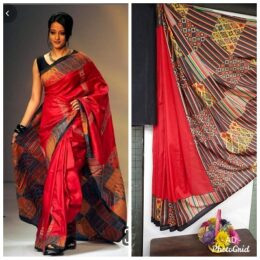 Red and black printed summer styled sythentic silk saree