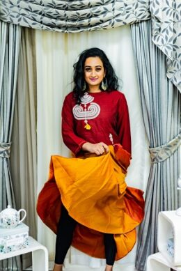 Dark gold with maroon stylish 2 pc gown with over coat type top
