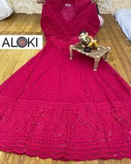 Hot pink chikankari anarkali dress gown
