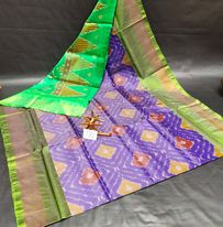 Purple and green printed ikkat pattu sarees