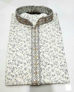 White printed casual style kurta pyjama set