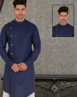 Dark blue stylish crosscut patterned indowestern kurta pyjama set