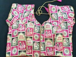 Pink and white printed silk ready made blouse