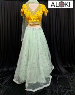 Yellow and sea green coloured net lehenga