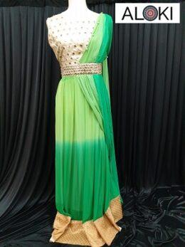 Green georgette drape style anarkali gown dress