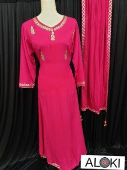 Hot pink rayon anarkali dress and rayon dupatta with gota patti lace work