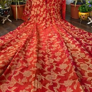 Red brocade anarkali dress with collared neck and full sleeves