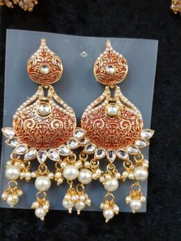 Red enamel kundan earrings with pearl dangles