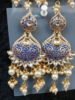 Blue enamel kundan earrings with pearl dangles