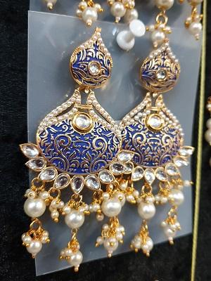 Blue enamel kundan earrings with pearl dangles