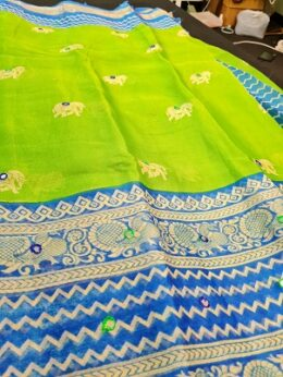 Green printed Organza saree with printed blue border and all over mirrors