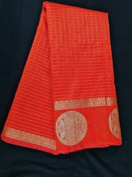 Red silk blend saree with checkered zari pattern