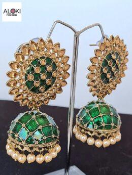 Dark green enameled jumka earrings with pearl dangles