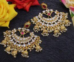 Premium quality kundan multi jumkha chandbali earrings