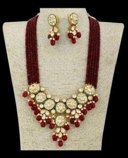 Red crsytal bead kundan necklace set